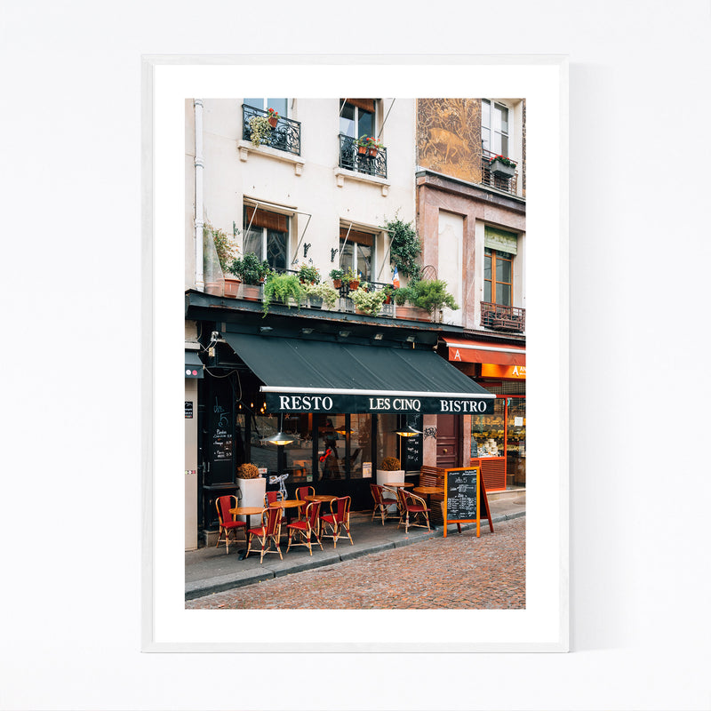 Bistro Latin Quarter Paris City Framed Art Print