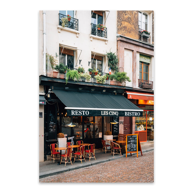 Bistro Latin Quarter Paris City Metal Art Print