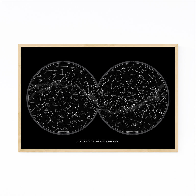 Minimal Night Sky Constellations Framed Art Print
