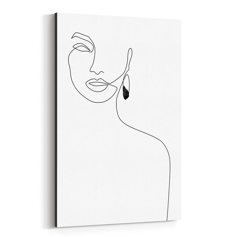 Minimal Feminine Line Drawing Canvas Art Print