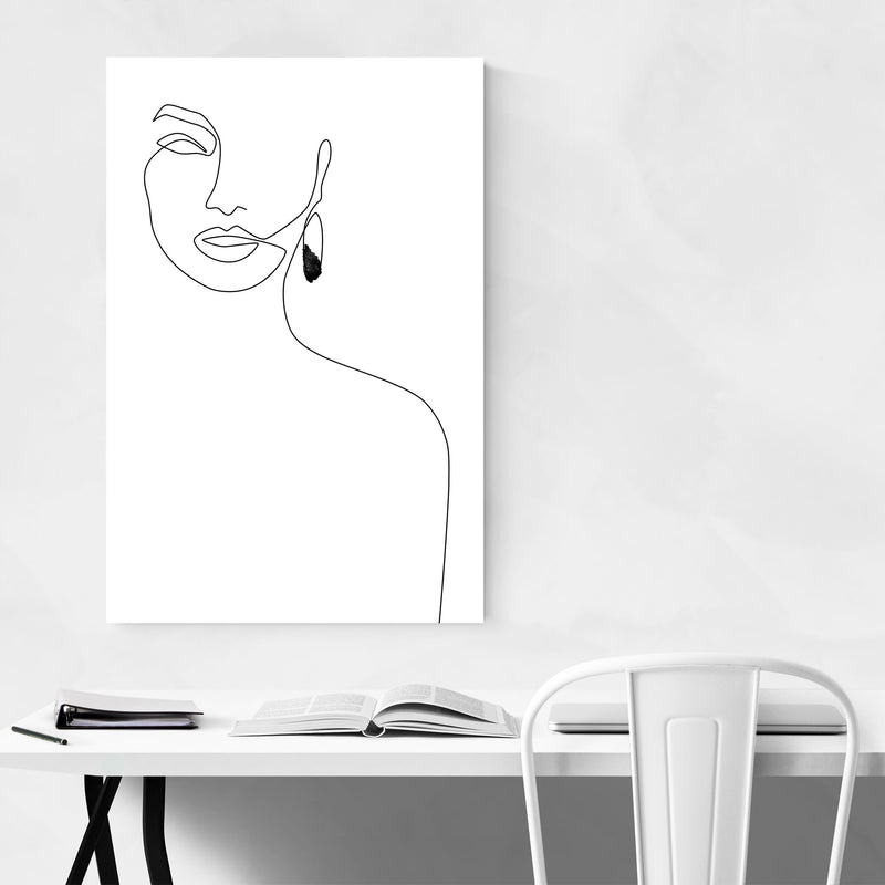 Minimal Feminine Line Drawing Metal Art Print
