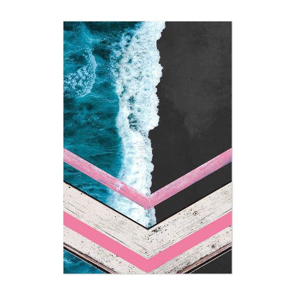 Black Sand Waves Crashing Beach Art Print