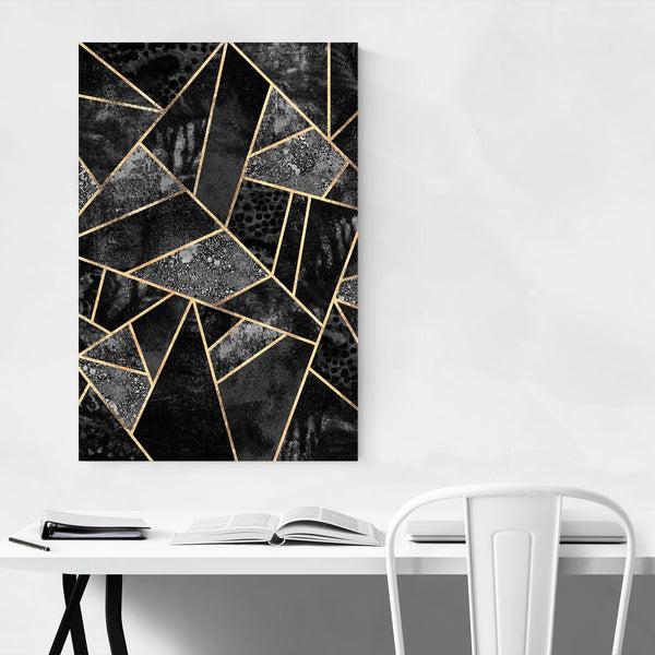 Black Art Deco Abstract Geometic Art Print