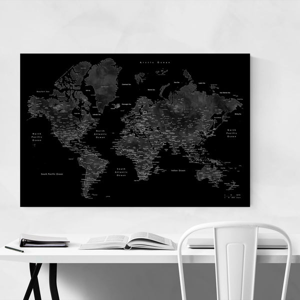Black Watercolor World Map Art Print