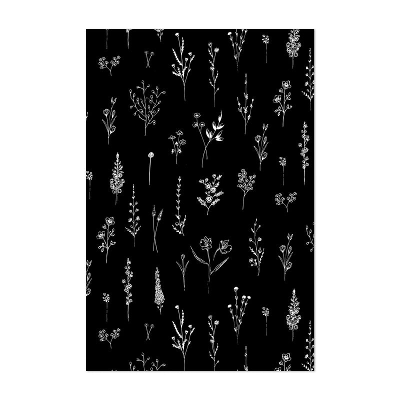 Ink Wildflower Floral Pattern Art Print