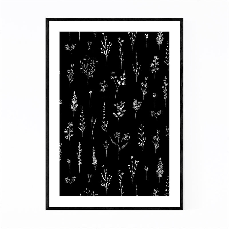Ink Wildflower Floral Pattern Framed Art Print