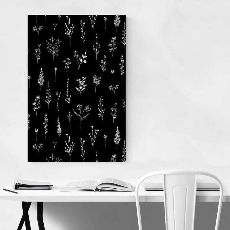 Ink Wildflower Floral Pattern Canvas Art Print