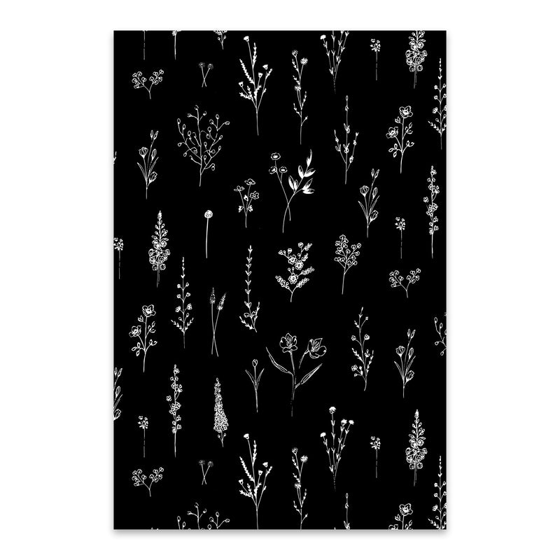Ink Wildflower Floral Pattern Metal Art Print