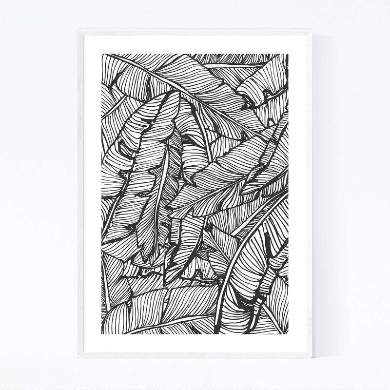 Black & White Banana Leaf  Framed Art Print