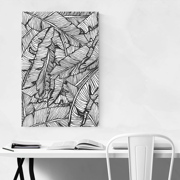 Black & White Banana Leaf  Art Print