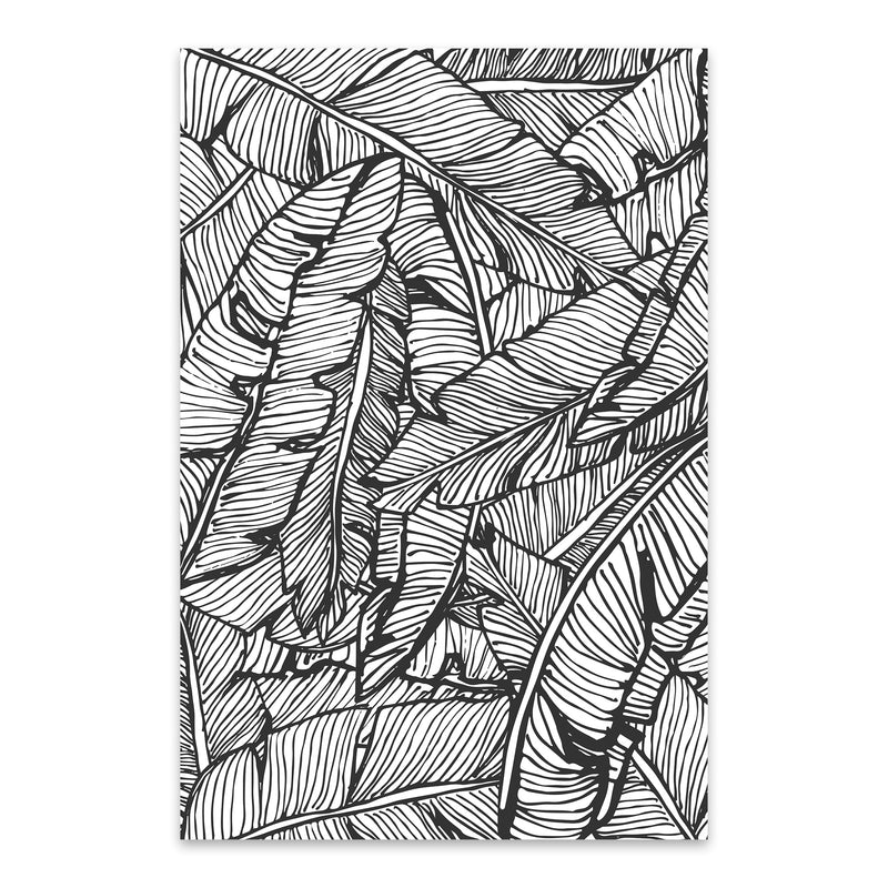 Black & White Banana Leaf  Metal Art Print