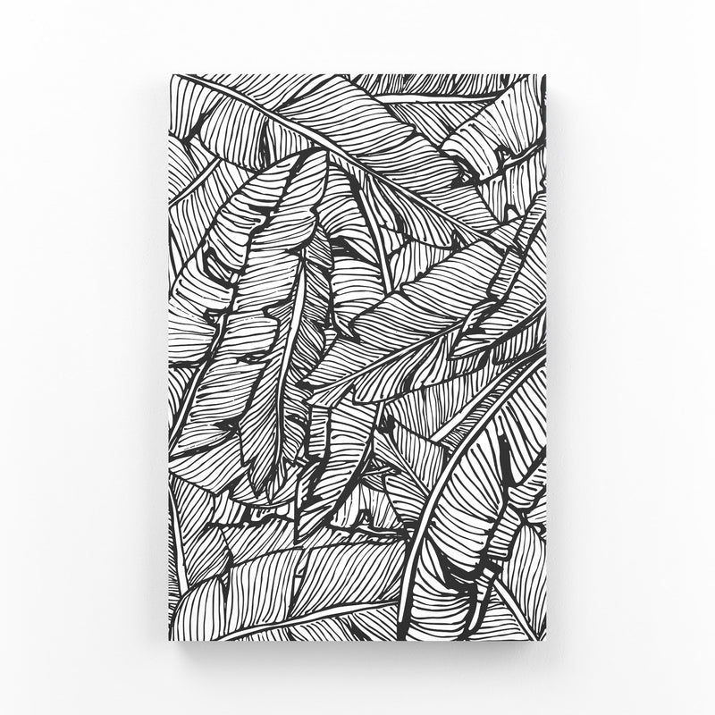 Black & White Banana Leaf  Mounted Art Print