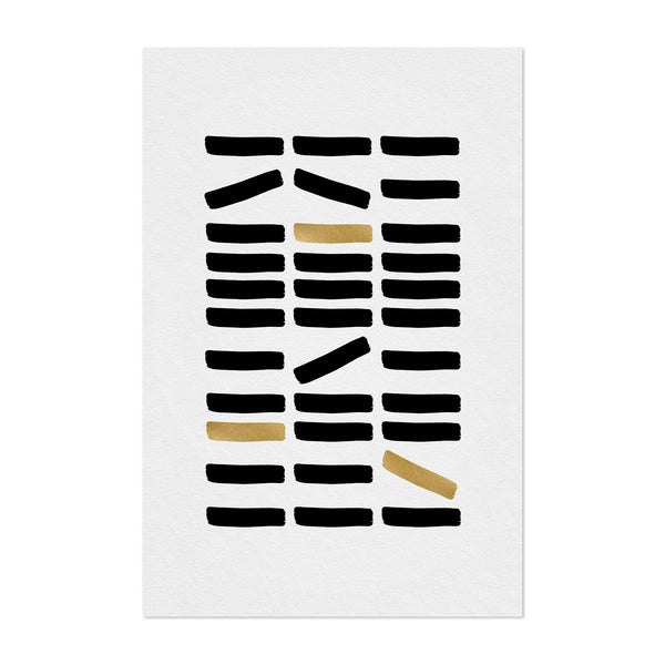 Minimal Abstract Gold Foil Line Art Print