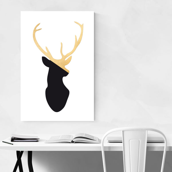 Minimal Gold Deer Buck Animal  Art Print