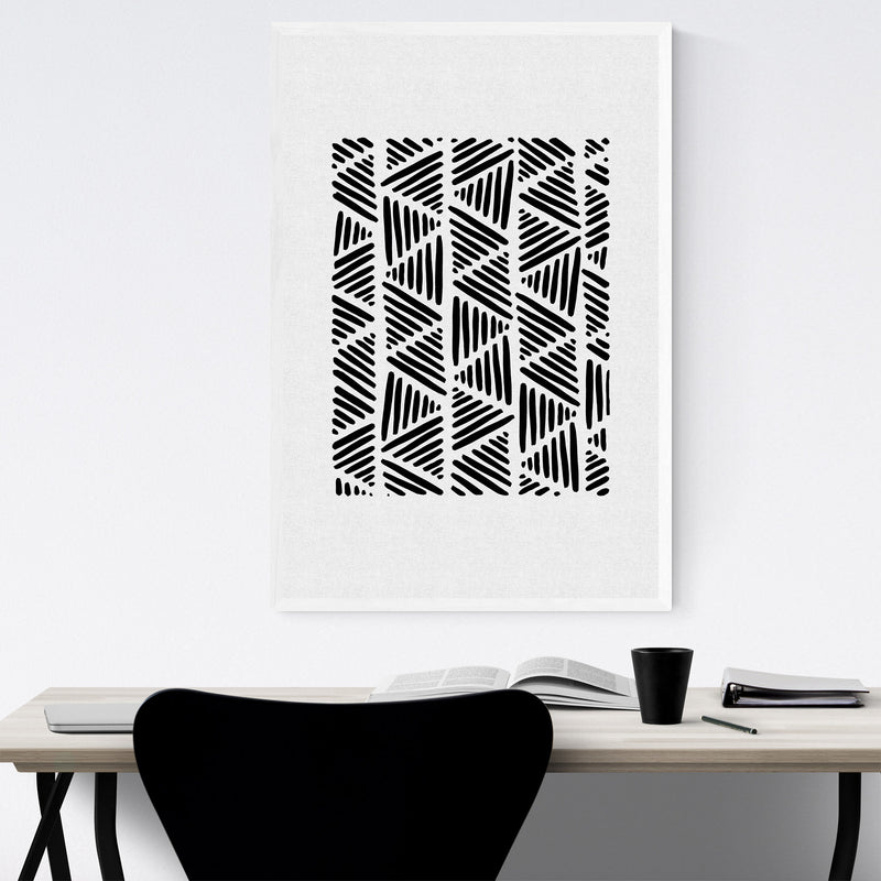 Minimal Abstract Triangle Line Framed Art Print