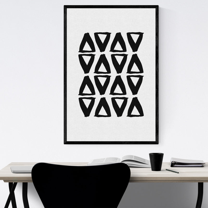 Black Abstract Triangle Painting Framed Art Print