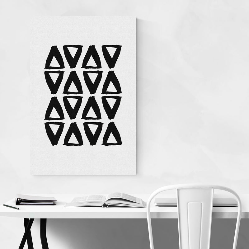 Black Abstract Triangle Painting Art Print