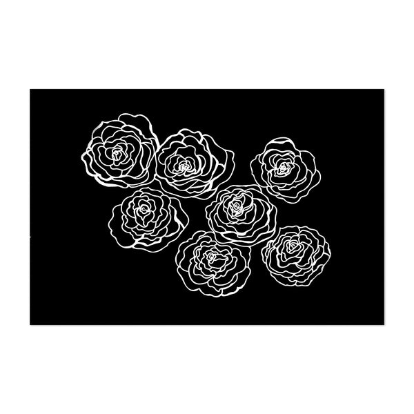 Black White Floral Illustration Art Print