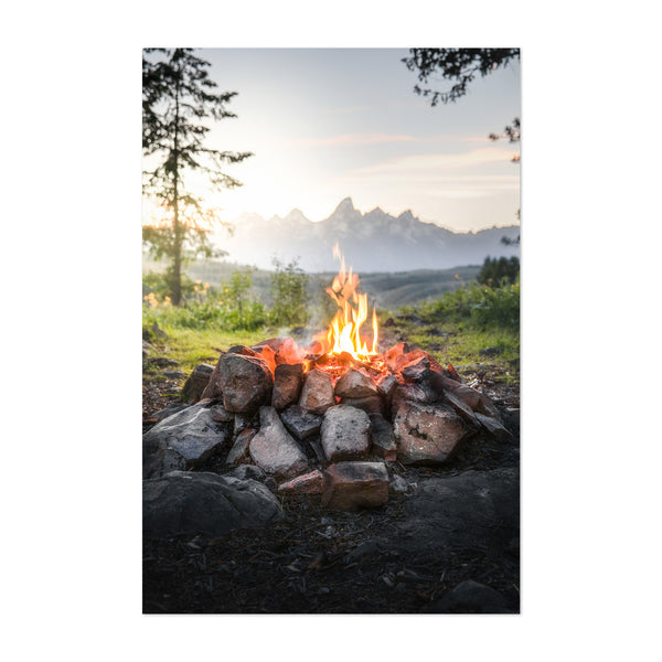 Campfire Mountains Camping Art Print