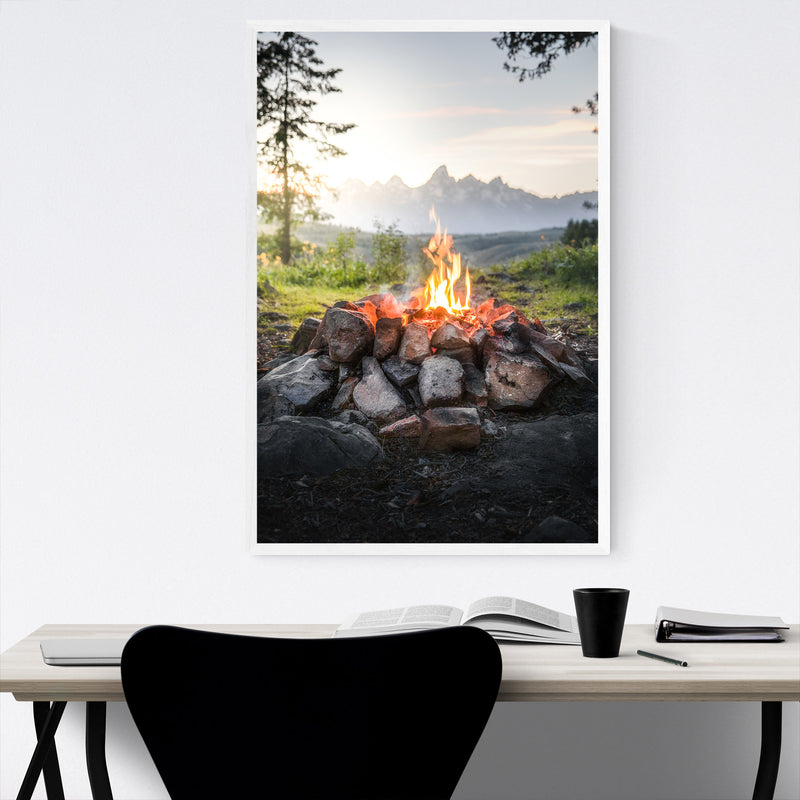 Campfire Mountains Camping Framed Art Print