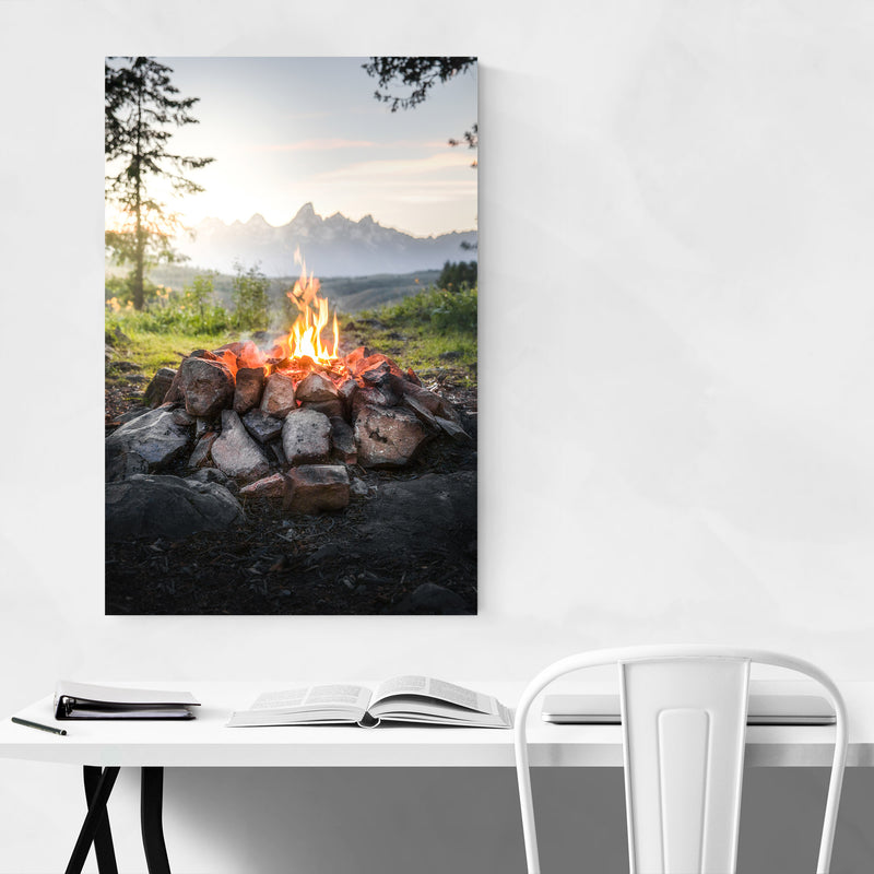 Campfire Mountains Camping Canvas Art Print