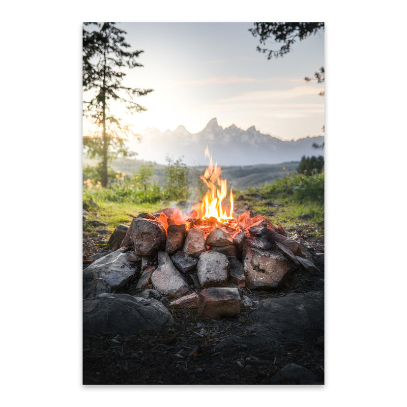 Campfire Mountains Camping Metal Art Print