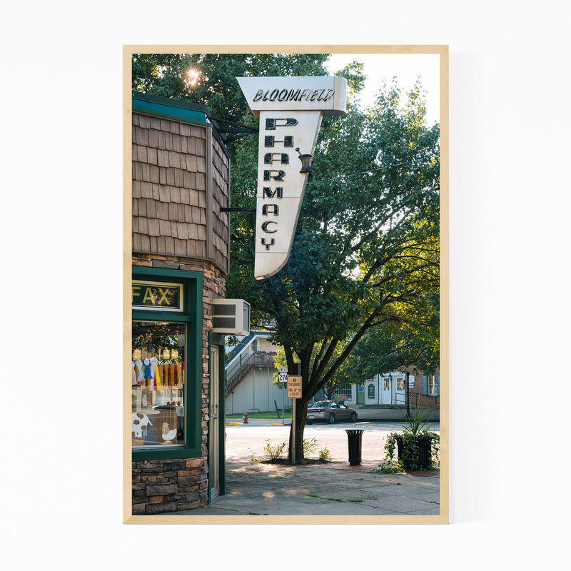 Bloomfield Pharmacy Sign PA Framed Art Print