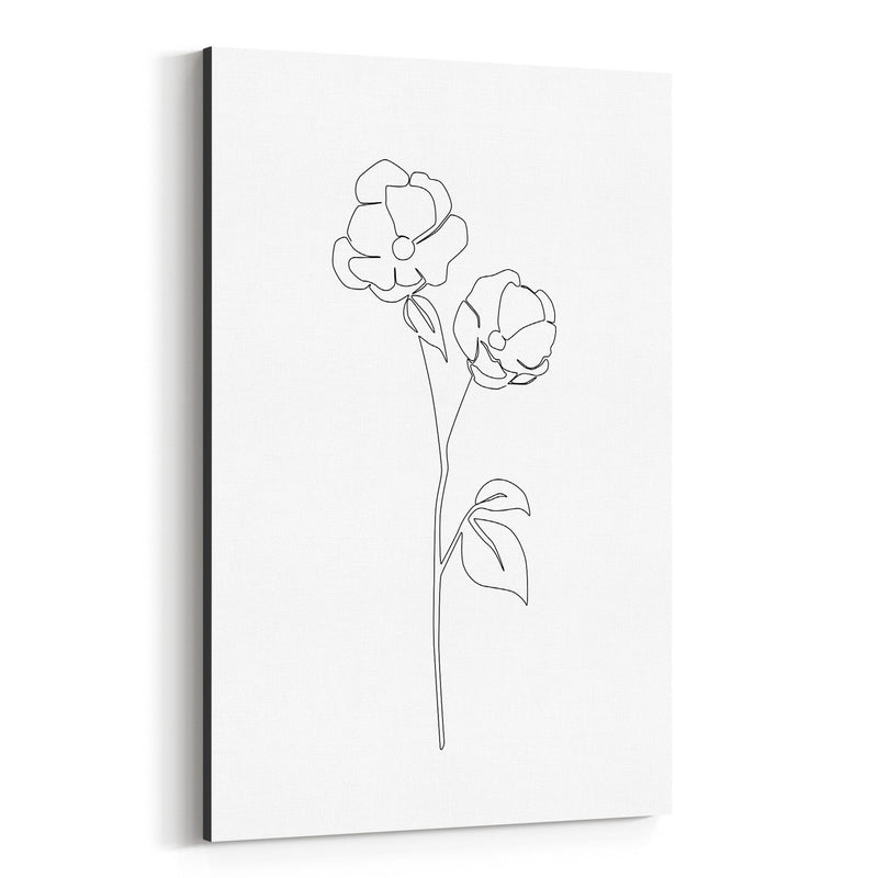 Scandinavian Flower Line Drawing Canvas Art Print