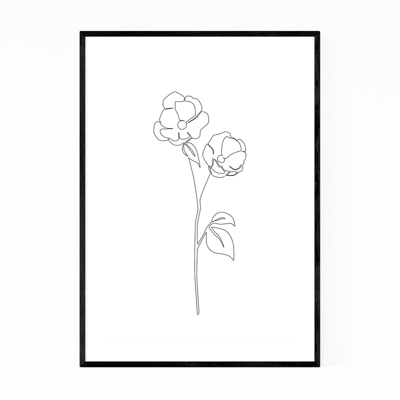 Scandinavian Flower Line Drawing Framed Art Print