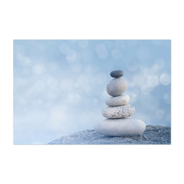 Coastal Blue Beach Stones Cairn Art Print