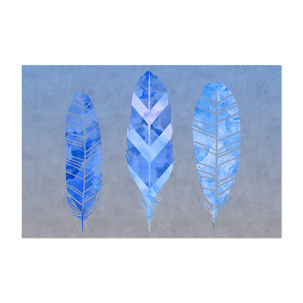 Blue Grey Feather Watercolor Art Print