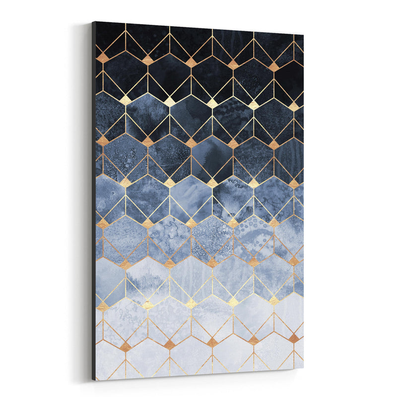 Blue Abstract Geometric Art Deco Canvas Art Print