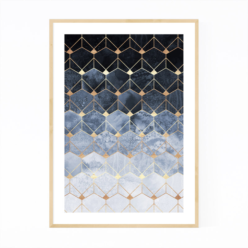 Blue Abstract Geometric Art Deco Framed Art Print