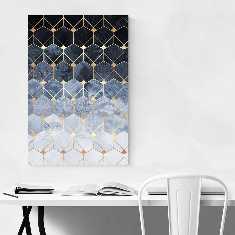 Blue Abstract Geometric Art Deco Metal Art Print