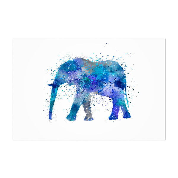 Elephant Watercolor Splatter Art Print