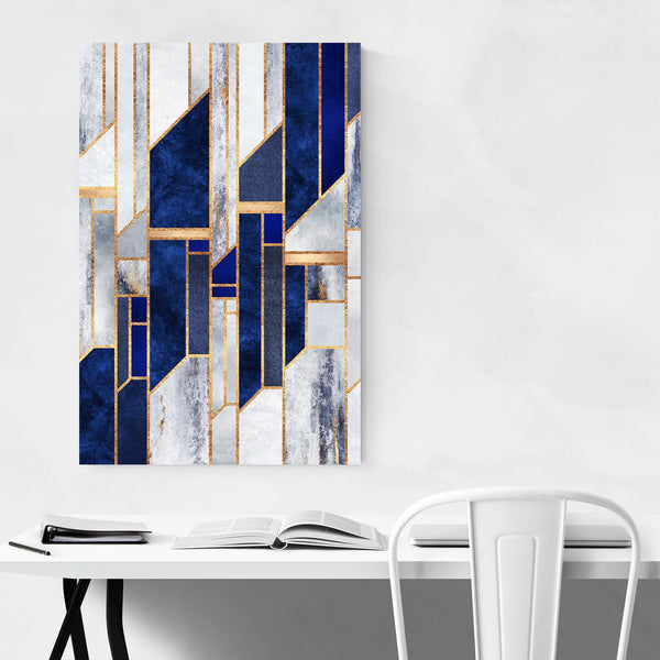 Blue Digital Abstract Geometric Art Print