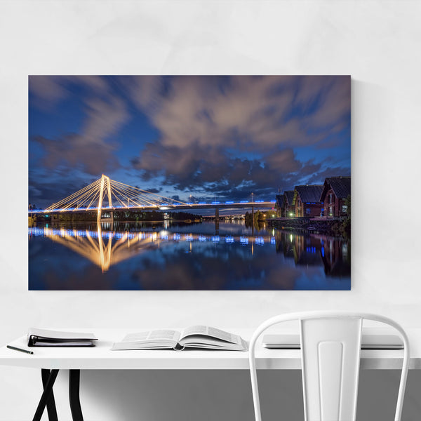 Umeå Sweden Modern Bridge Night Art Print