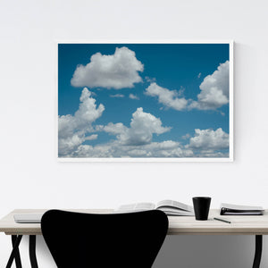 Blue Sky and Clouds Nature Framed Art Print