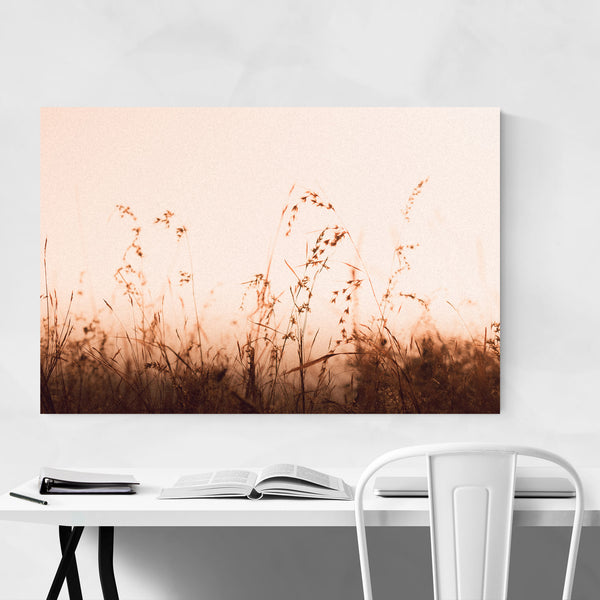 Sunset Grass Field Nostalgic Art Print