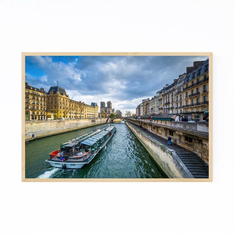 Paris Boat in the Seine River Framed Art Print