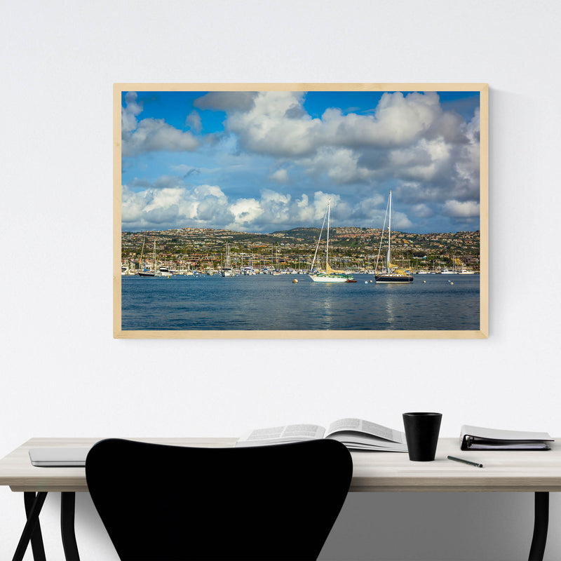 Newport Beach California Harbor Framed Art Print