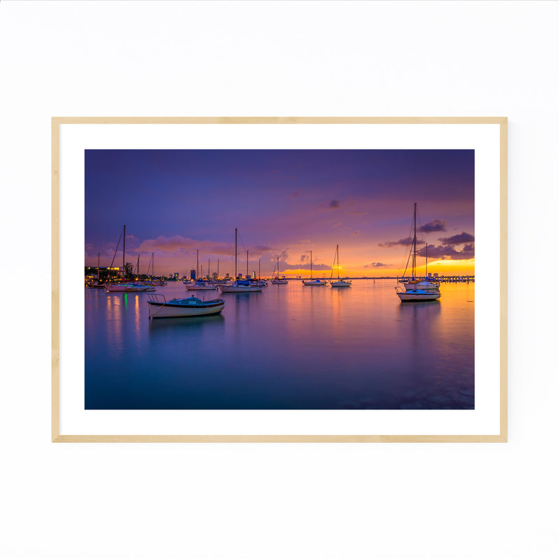 Miami Beach, Florida Sunset Framed Art Print