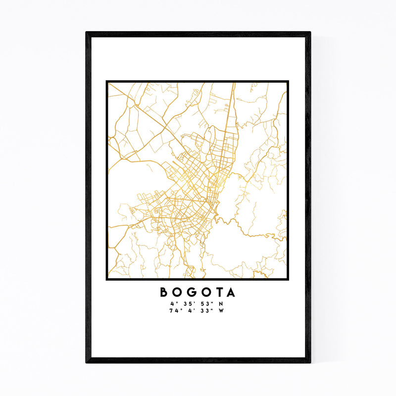 Minimal Bogota City Map Framed Art Print