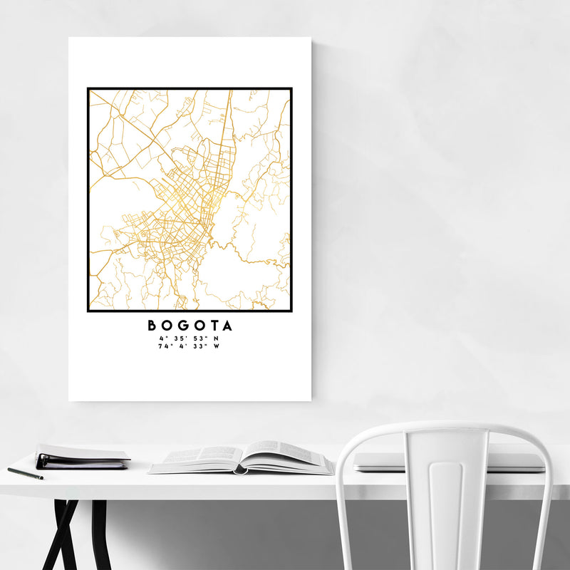 Minimal Bogota City Map Metal Art Print