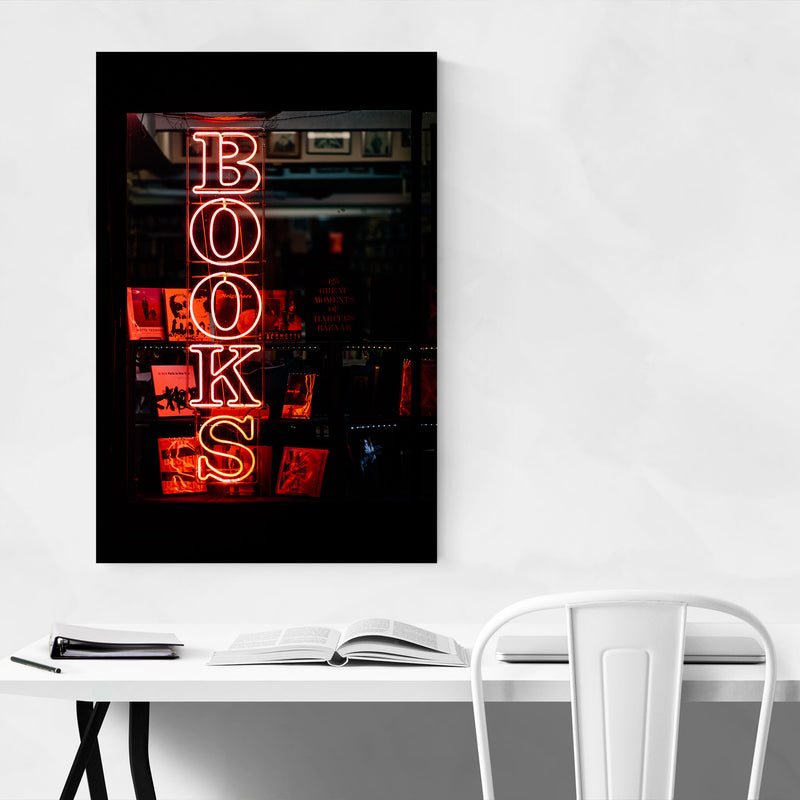 Book Store Neon Sign New York Canvas Art Print