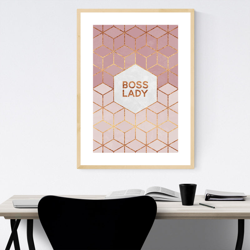 Feminism Typography Boss Lady Framed Art Print