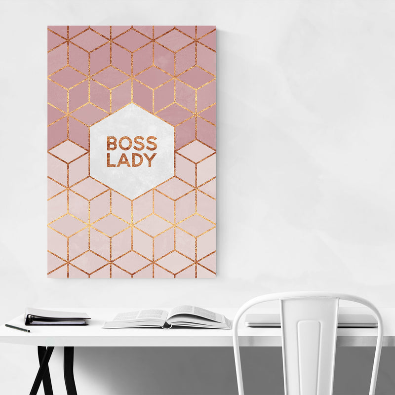 Feminism Typography Boss Lady Metal Art Print