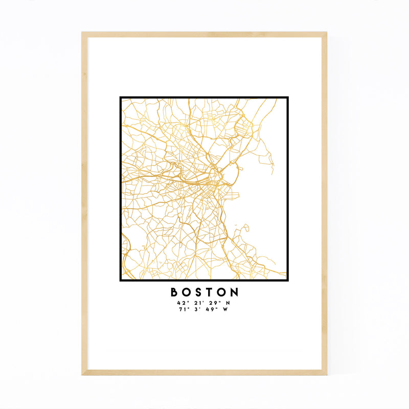 Minimal Boston City Map Framed Art Print