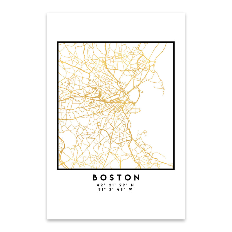 Minimal Boston City Map Metal Art Print