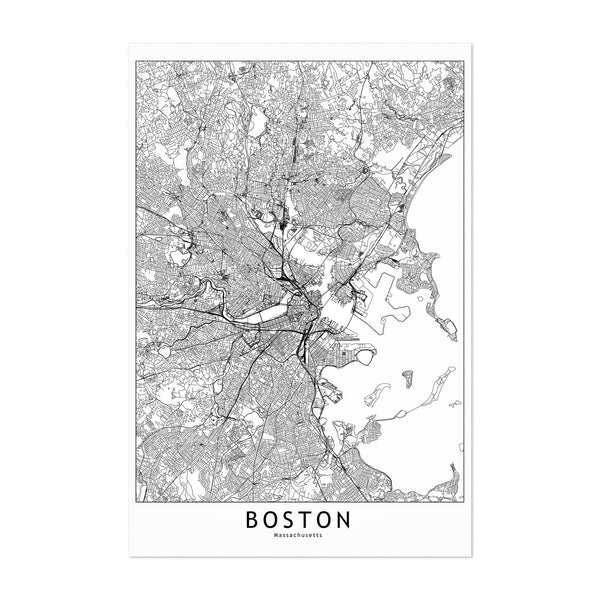 Boston Black & White City Map Art Print